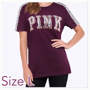 Size L ❤️ PINK VS BLING PERFECT CREW TEE